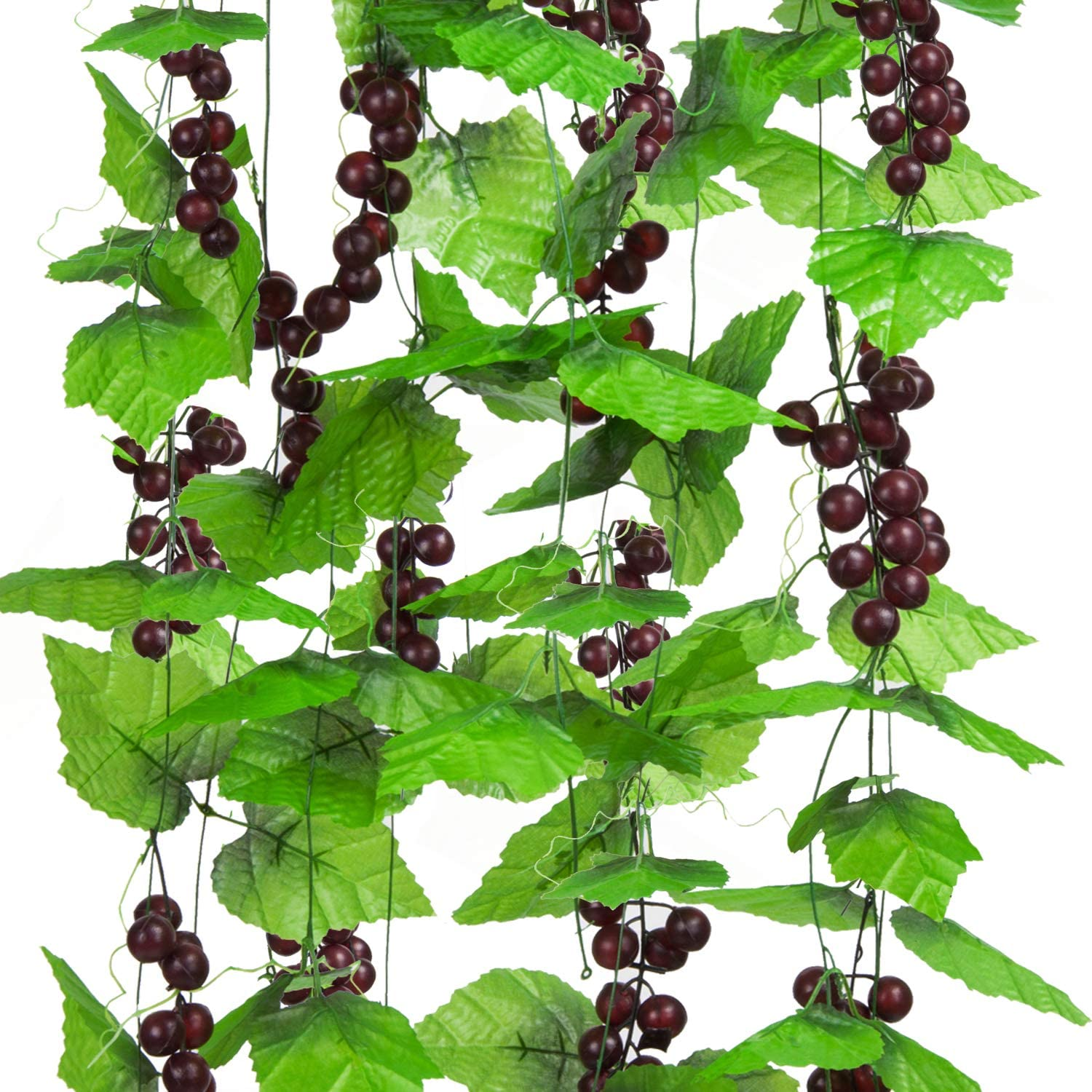 8FT 5pcs Artificial Greenery Chain Grapes Vines Leaves Foliage Simulation Fruits for Home Room Garden Wedding Garland Outside Decoration
