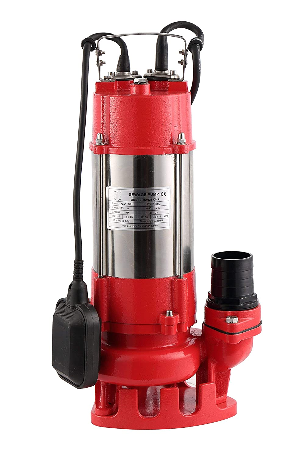 3//4HP 20 Cable 115V Max 5600 GPH 38 Lift Heavy Duty stainless steel Hallmark Industries MA0387X-8 Sewage Pump