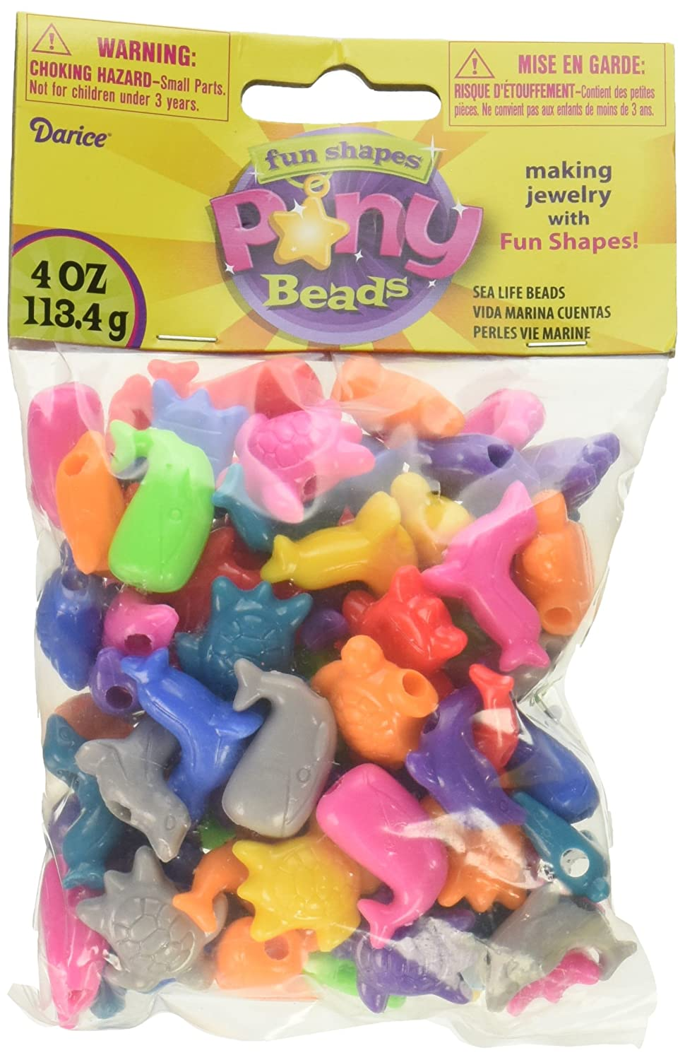 Darice Plastic Novelty Beads Sea Life Shapes Bright Colors 0726 79