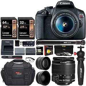 Canon EOS Rebel T7 Digital SLR Camera Travel Bundle + EF-S 18-55mm is II Lens + 58mm 2X Professional Telephoto & 58mm Wide Angle Lens + 96GB Memory+ Compact monopod+ Table Tripod+ Bag &More