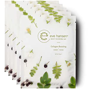 Eve Hansen Collagen Sheet Mask Set | Cruelty Free, Natural Hydrating Face Mask for Wrinkles and Dark Spots | 5X Facial Mask Sheet Face Masks