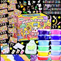 HSFTILV DIY Slime kit Supplies- 12 Clear Slime 2 Jelly Cube 48Glitter 4 Magic Clay with DIY Slime Tool and Slime Box