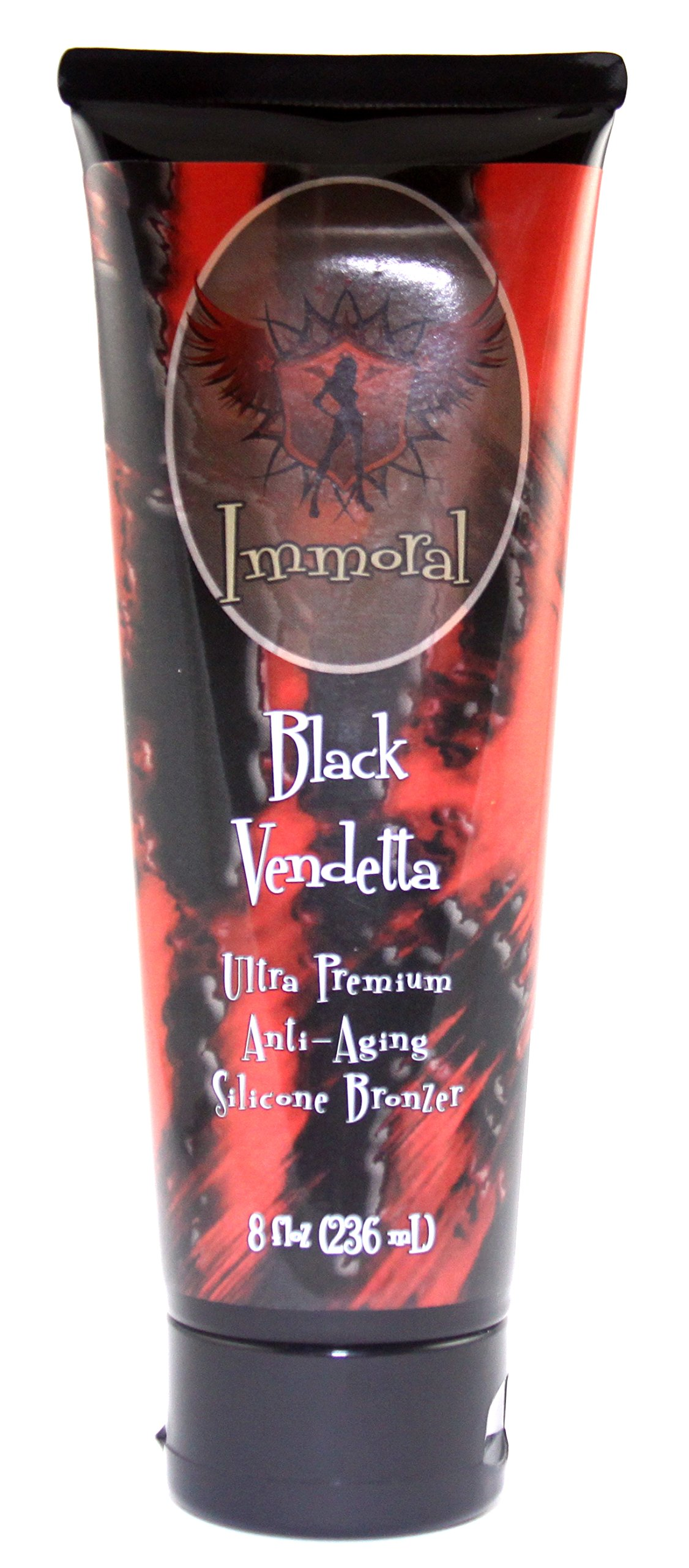 Immoral Black Vendetta 300XX Advanced Tanning Lotion Bronzer | Dark Streak Free Tattoo Safe Anti-Aging Peptide Outdoor/Indoor Tanning Bed Tan Accelerator, Intensifier, Maximizer, Bronzing Lotion,8Oz by Immoral Tanning Lotion (Image #1)