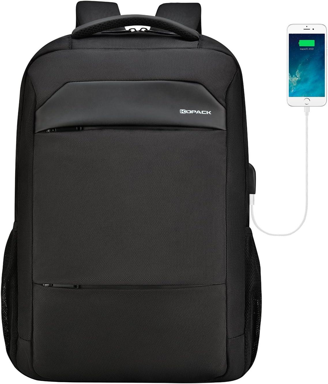 kopack Laptop Backpack 17 Inch Waterproof Zipper Computer Backpack Black Travel Bag for Business College with USB Port
