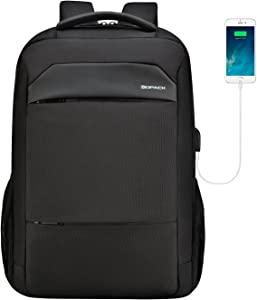 kopack Slim Laptop Backpack USB Port Waterproof Zipper Computer Backpack for Business College for 15 15.6 Inch