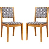 """Amazon Brand – Rivet Faux Leather Woven Dining Chair with Wood Frame, Set of 2, 18""""W, Gray"""