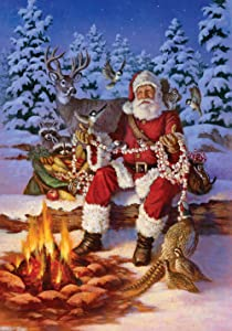 Toland Home Garden Fireside Santa 12.5 x 18 Inch Decorative Christmas Winter Snow Forest Animal Deer Bird Garden Flag