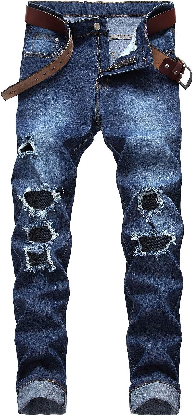 Para Hombre De Disenador Slim Fit Ripped Envejecido Elastizados Casuales Biker Denim Jeans Pantalones Control Ar Com Ar