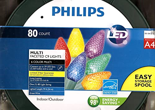 Philips 80 Count Multi-Faceted Indoor Outdoor LED Christmas String Lights, A4 – 6 Colors