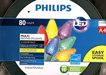 Philips 80 Count Multi-Faceted Indoor/Outdoor LED Christmas String Lights, A4 - 6 Colors