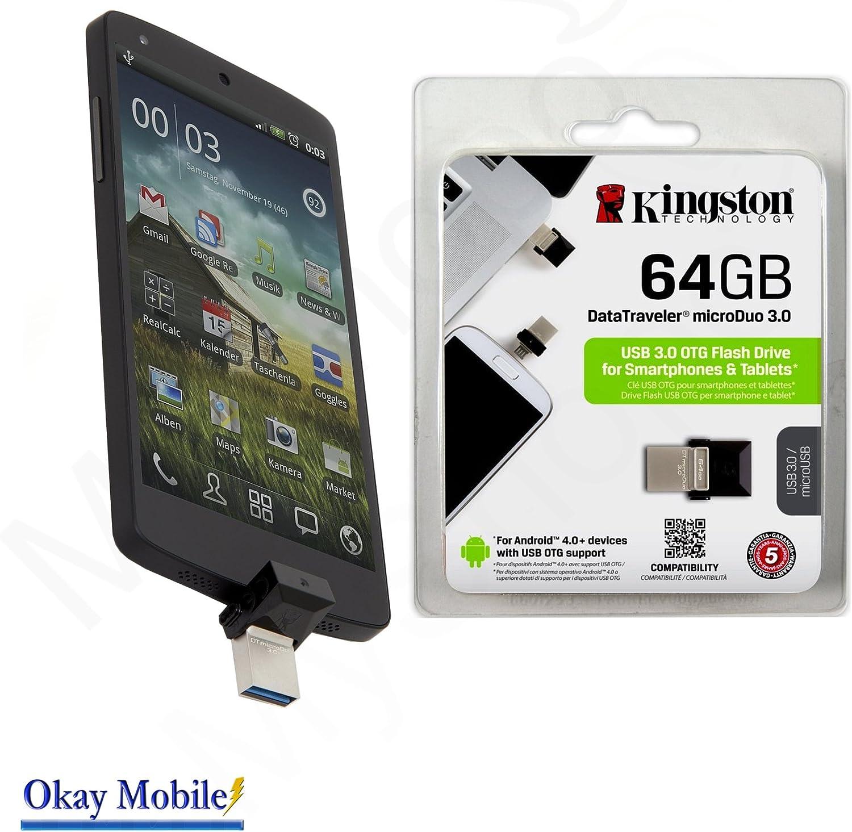 Ampliación De Memoria 64 GB Smartphone Kingston 64 GB microUSB a USB Stick 3.0 externo DataTraveler microduo OTG para ZTE L3 Blade Dual SIM: Amazon.es: Electrónica