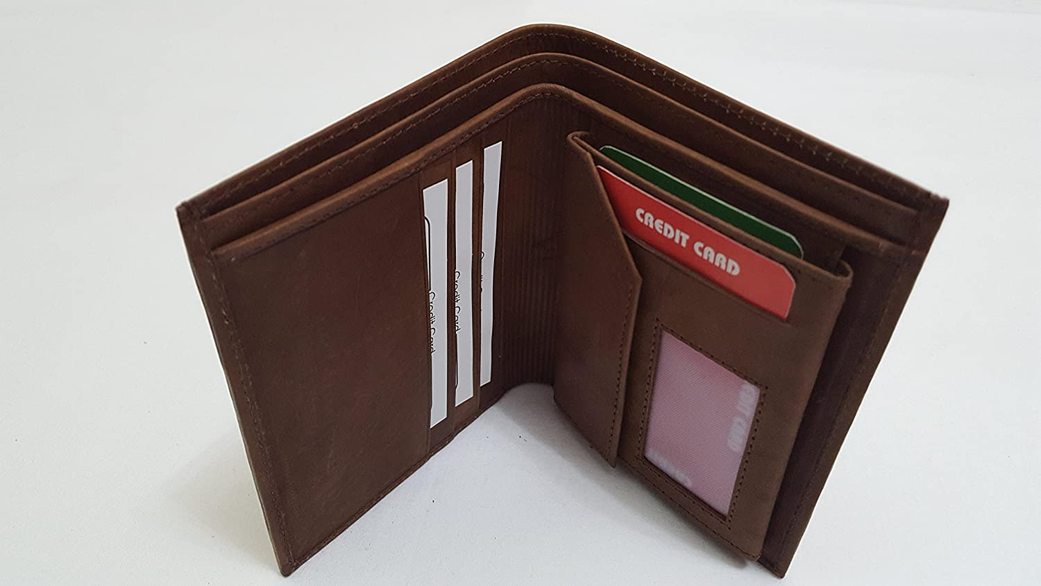 MEN Two Fold Dark faded Brown Leather Wallet - Leather Inner with coin pocket