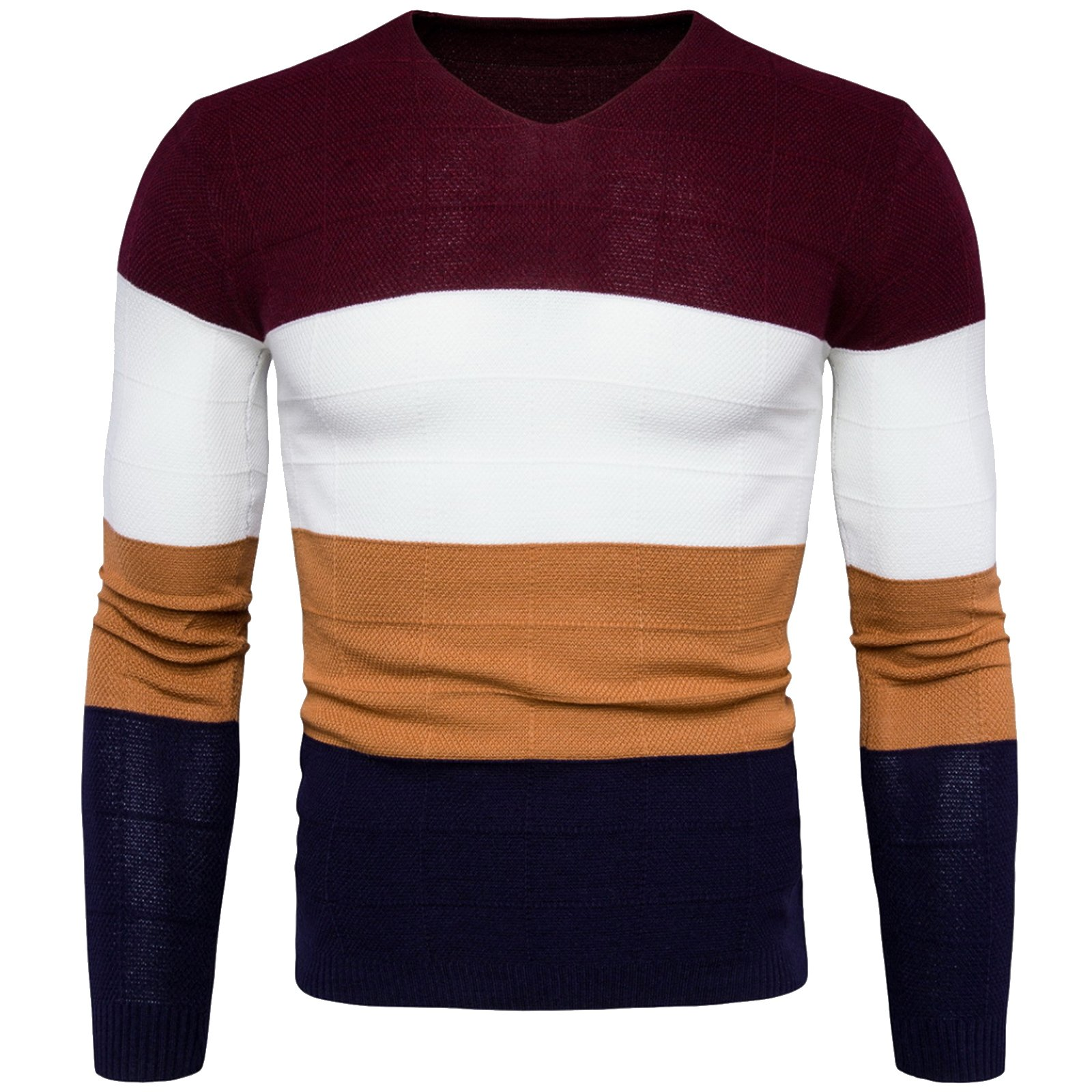 WSLCN Mens Chic Fine Knit V-Neck Coton Jumper Pullover Contrast Color Sweater Red US S (Asian L)