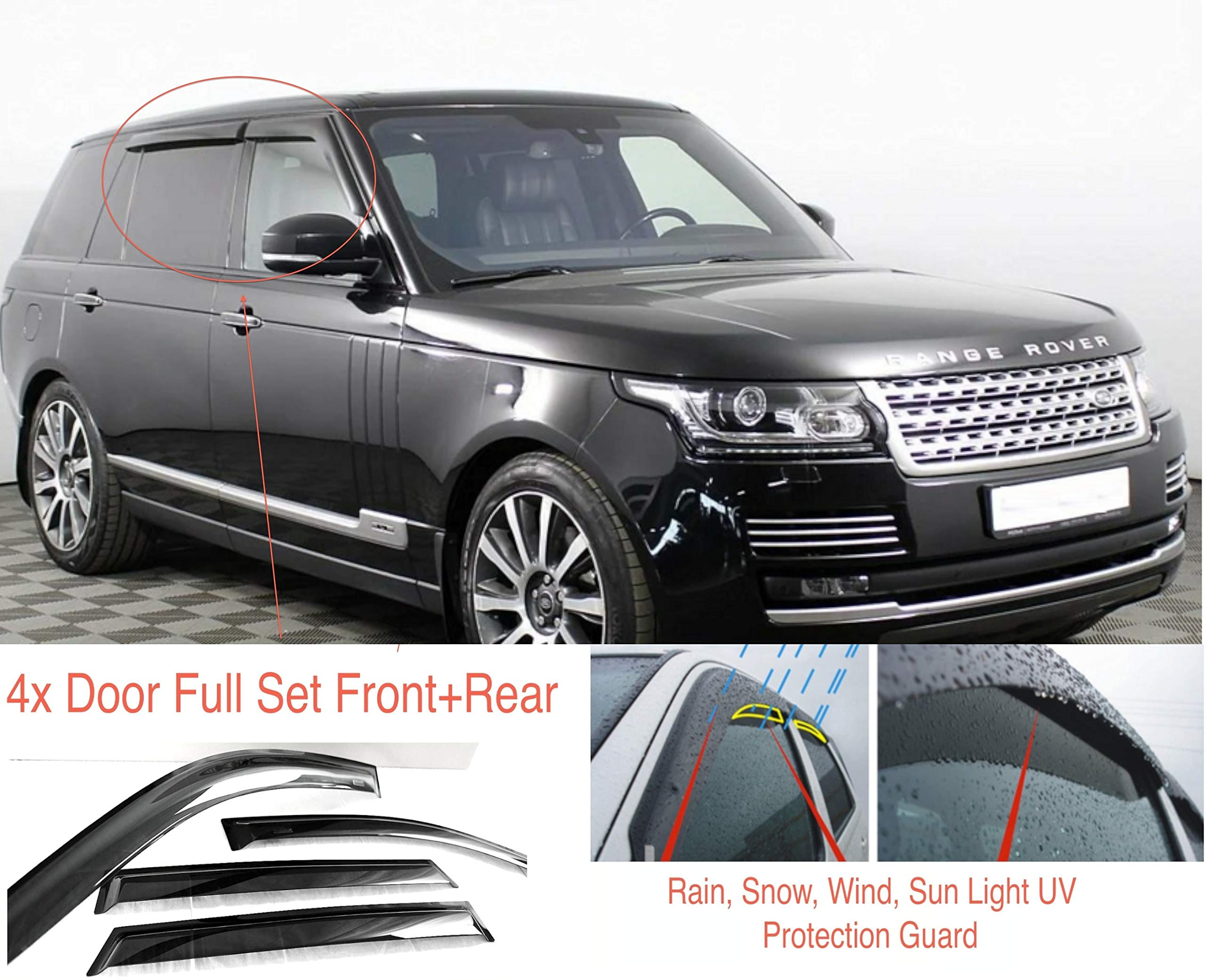 AC WOW 4x Wind Deflectors Compatible with Range Rover Vogue L405 5-door 2012 2013 2014 2015 2016 2017 2018 2019 2020 onwards Acrylic Glass WeatherShields Visors