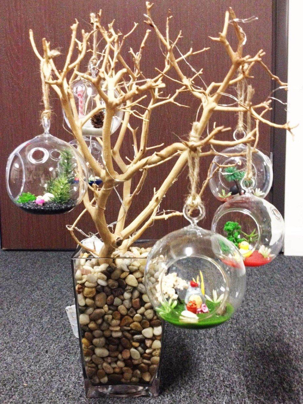 80MM Hanging Tealight Holder Glass Globes Terrarium Wedding Candle Holder Candlestick (90 Pcs/set)