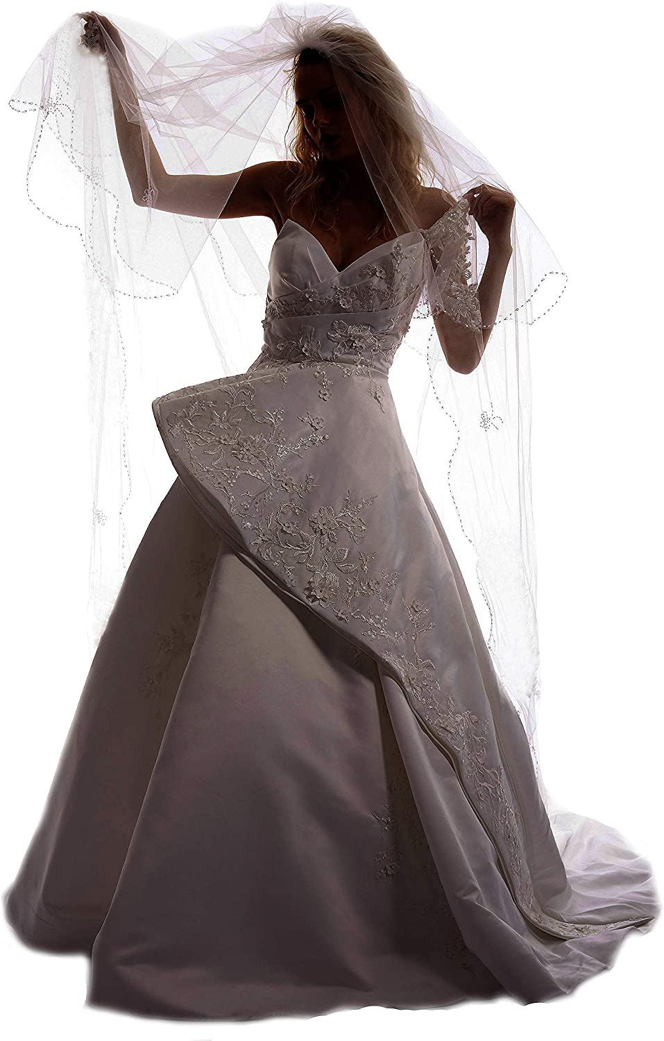 Passat 2Tiers Beads Cathedral Bridal Veils Scalloped Edge Sequin Wedding Veil H14
