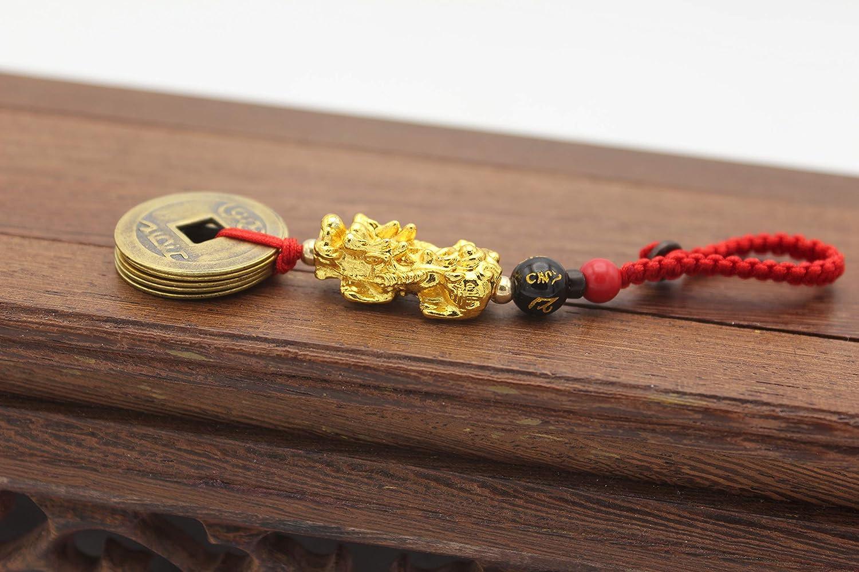 Gold Metal Dragon Pi Xiu 5 Emperor Coin Hangbag Charm Feng Shui Hanging Ornament