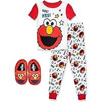 Sesame Street Elmo Pajamas, Toddler 2 Piece Pajama Set with Slippers, 100% Cotton, Toddler Size 2T to 5T