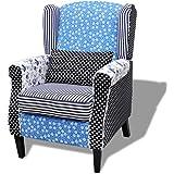 Fauteuil patchwork relax de style campagne à couleurs Bleu et Blanc