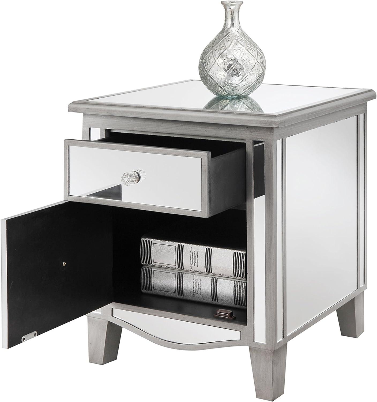 Convenience Concepts Gold Coast Park Lane Mirrored End Table, Antique Silver /   Mirror