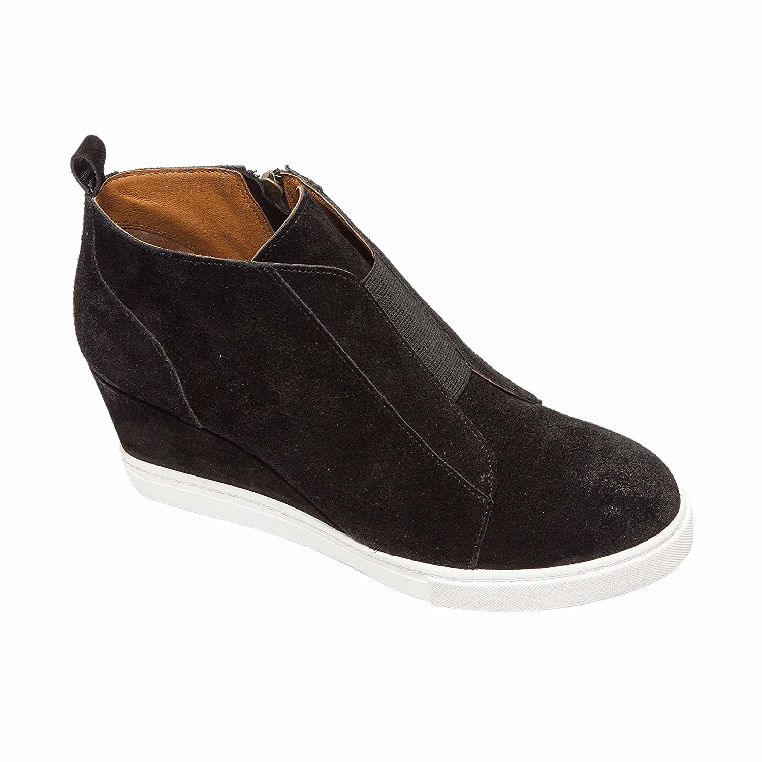 Felicia | Women's Platform Wedge Bootie Sneaker Leather Or Suede B07FSLSPW9 13 M US|Black Suede Embroidery