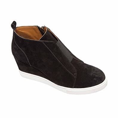 bb2620ae235a8 Linea Paolo Felicia | Women's Platform Wedge Bootie Sneaker Leather Or  Suede Black Split Suede 4M