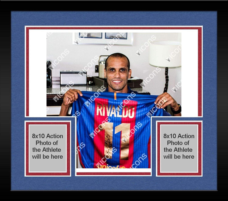 buy online 4c89a 9dcf9 Framed Rivaldo Barcelona Autographed Modern Barcelona Home ...