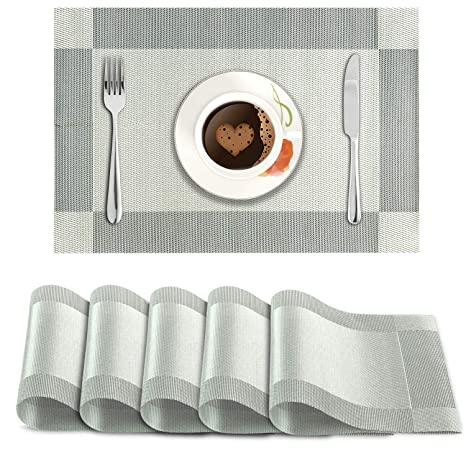 Hokipo PVC Dining Table Kitchen Placemats (45 X 30 cm, Silver) - 6 Pieces Place Mats at amazon