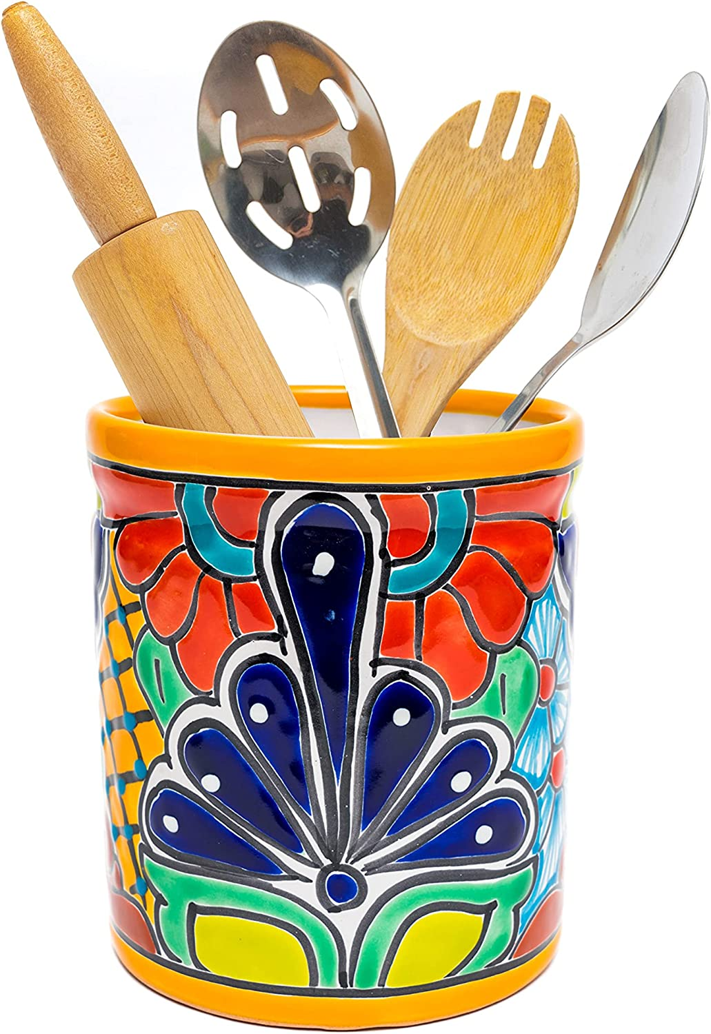 Vintage Handmade Hand Painted Mexican VaseUtensil HolderContainer with a Bold Floral Design