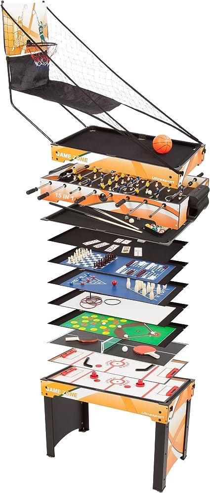 Ultrasport Mesa de Juegos 15-en-1 Game Zone: Amazon.es: Juguetes y juegos