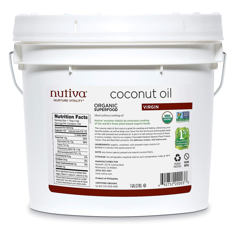 Nutiva Organic Cold-Pressed Virgin Coconut Oil, 1 Gallon