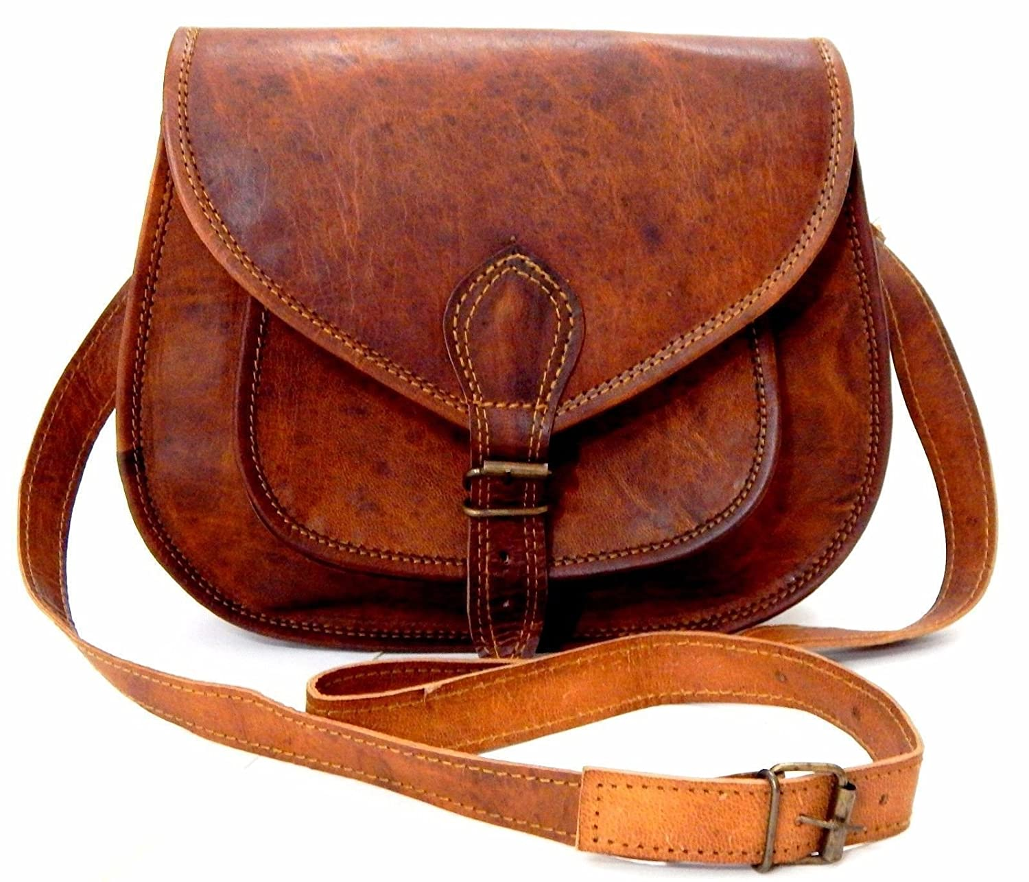 Shakun Leather Handmade Womens Vintage Genuine Brown Cross Body Bag, NEW 5SLJ005