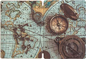Mertak Case Compatible with iPad Pro 11 2020 12.9 inch Air 3 2 10.2 8th 7th 2018 10.5 9.7 Mini 5 4 Magnetic Closure Slim Smart Cover Old World Map Antique Print Nautical Design Compass Vintage