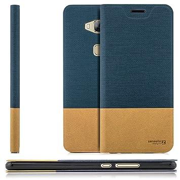 Zanasta Funda Huawei GX8 (G8) [RIO-L01] Case Cubierta Carcasa Flip Cover Tapa Delantera con Billetera para Tarjetas, Cierre Abatible - Protectora Azul