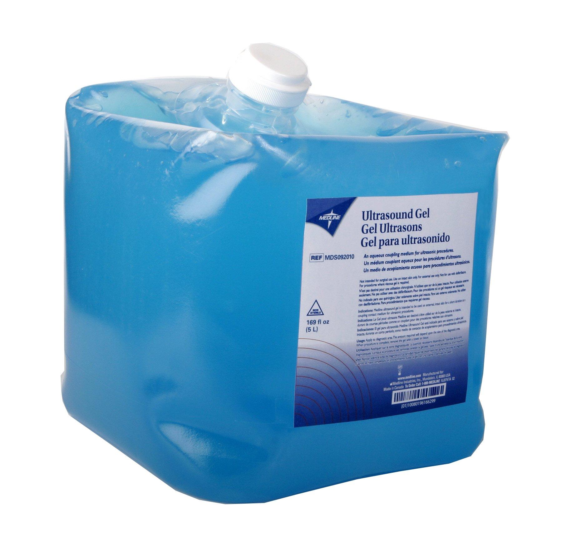 Medline MDS092010 Latex Free Blue Ultrasound Gel, 5 L Jugs, Blue (Pack of 4)