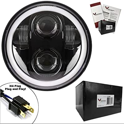 Eagle Lights 5.75 inch Generation II Projection LED Headlight with White Halo Ring - for Harley Sportster, Dyna, Indian Scout and More. (Black): Automotive