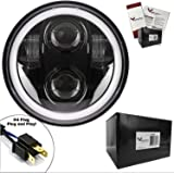 """Eagle Lights 5 3/4"""" Generation II Projection LED Headlight with White Halo Ring - High & Low Beam for Harley Sportster, Dyna, Indian Scout and More. (Black)"""