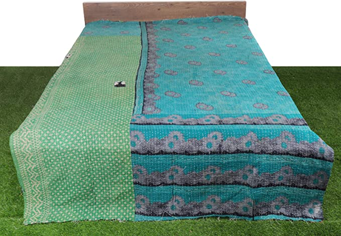 Cotton Kantha Quilt Single Size Geometric Blanket 54x84 Indian Handmade Bedspread,Twin Size Old Vintage Gudari Bohemian Bedding Bed Cover