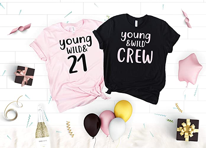 Birthday Party Shirts For Women 21st Young Wild 21 And Crew Soft Neck V T The Girl
