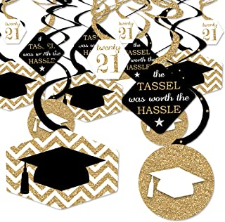 product image for Big Dot of Happiness Gold - Tassel Worth The Hassle - 2021 Graduation Party Hanging Decor - Party Decoration Swirls - Set of 40