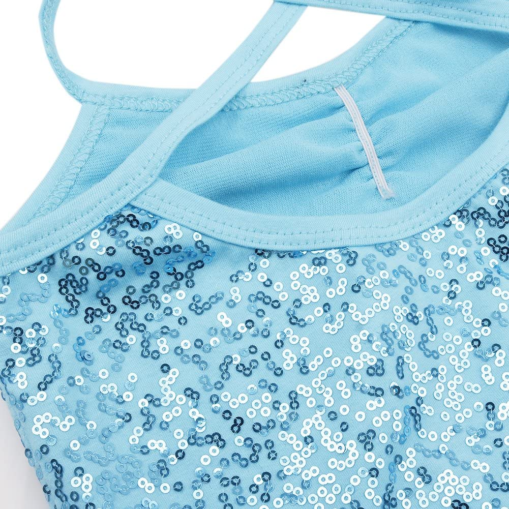 iEFiEL Kids Girls Shiny Sequins Ballet Tutu Dress Dance Costume Gymnastic Camisole Leotard Irregular High Low Skirt