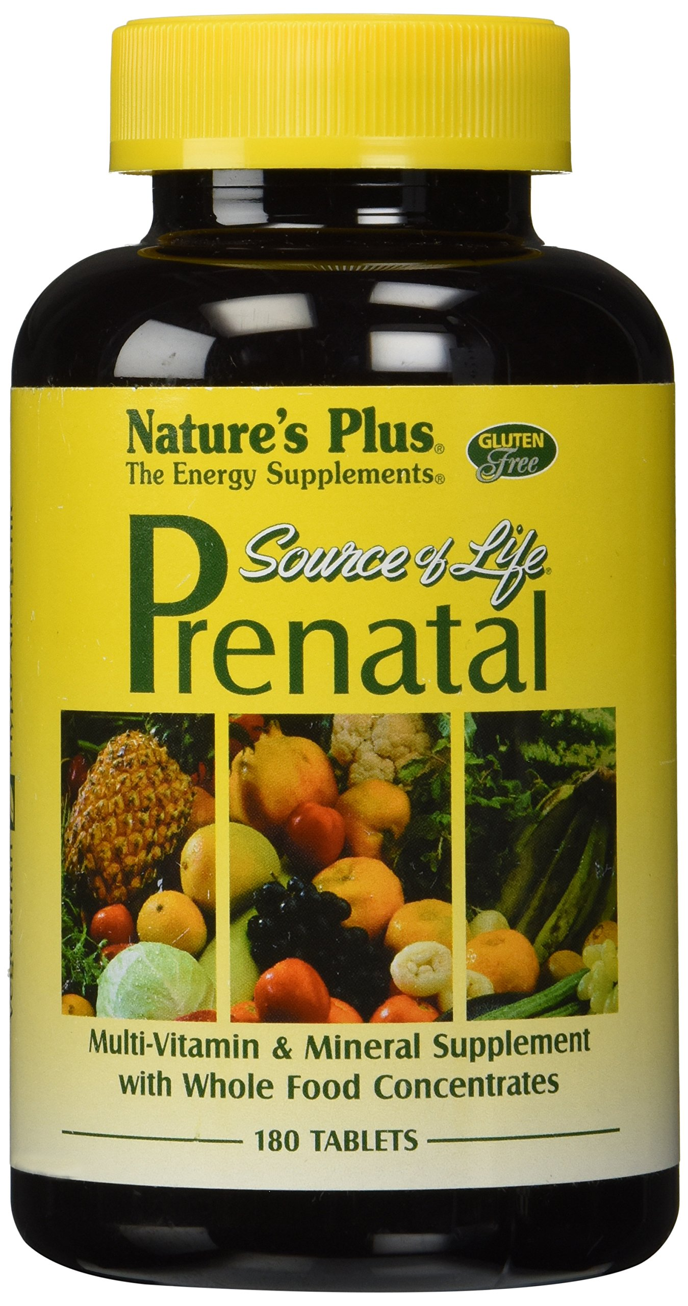 Natures Plus Source of Life Prenatal - 800 mcg Folate, 180 Vegetarian Tablets - All-Natural Whole Food Prenatal Vitamins and Minerals - Gluten Free - 90 Servings