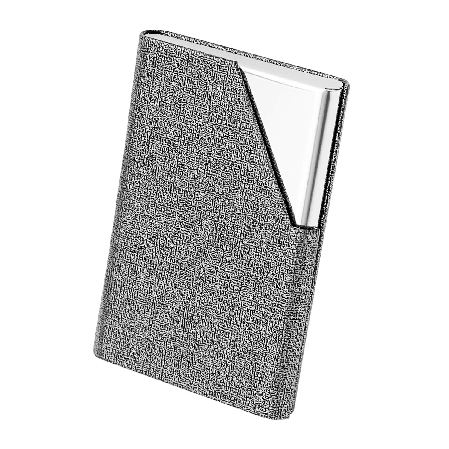 Keep Business Cards in Immaculate Condition Black Leather Business Card Case Slim Design Stainless Steel Card Holders for Men /& Women Magnetic Shut Gowall Professional Business Card Holder