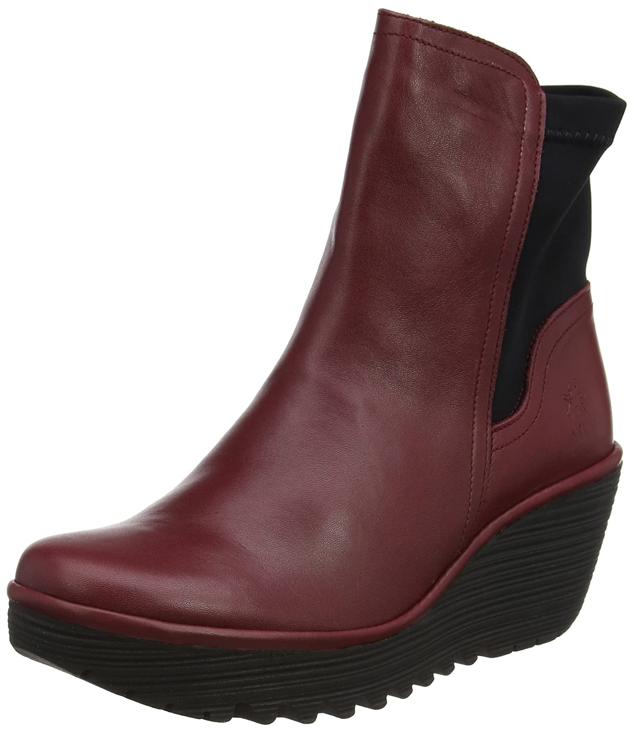 Womens Fly London Yuan Casual Winter Wedges Fashion Leather Ankle Boots B0728CHZ56 8 B(M) US|Cordoba Red/Black