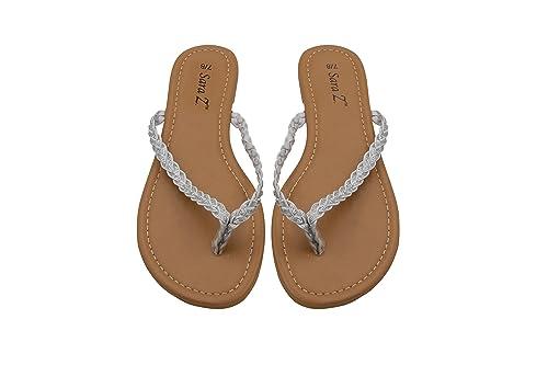 059b5a9433098 Sara Z Womens Braided Glitter Strap Flip Flop Thong Sandal Size 5 6 White