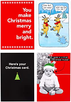 Amazon Com Hallmark Shoebox Funny Boxed Christmas Cards Assortment 4 Designs 24 Christmas Cards With Envelopes Office Products