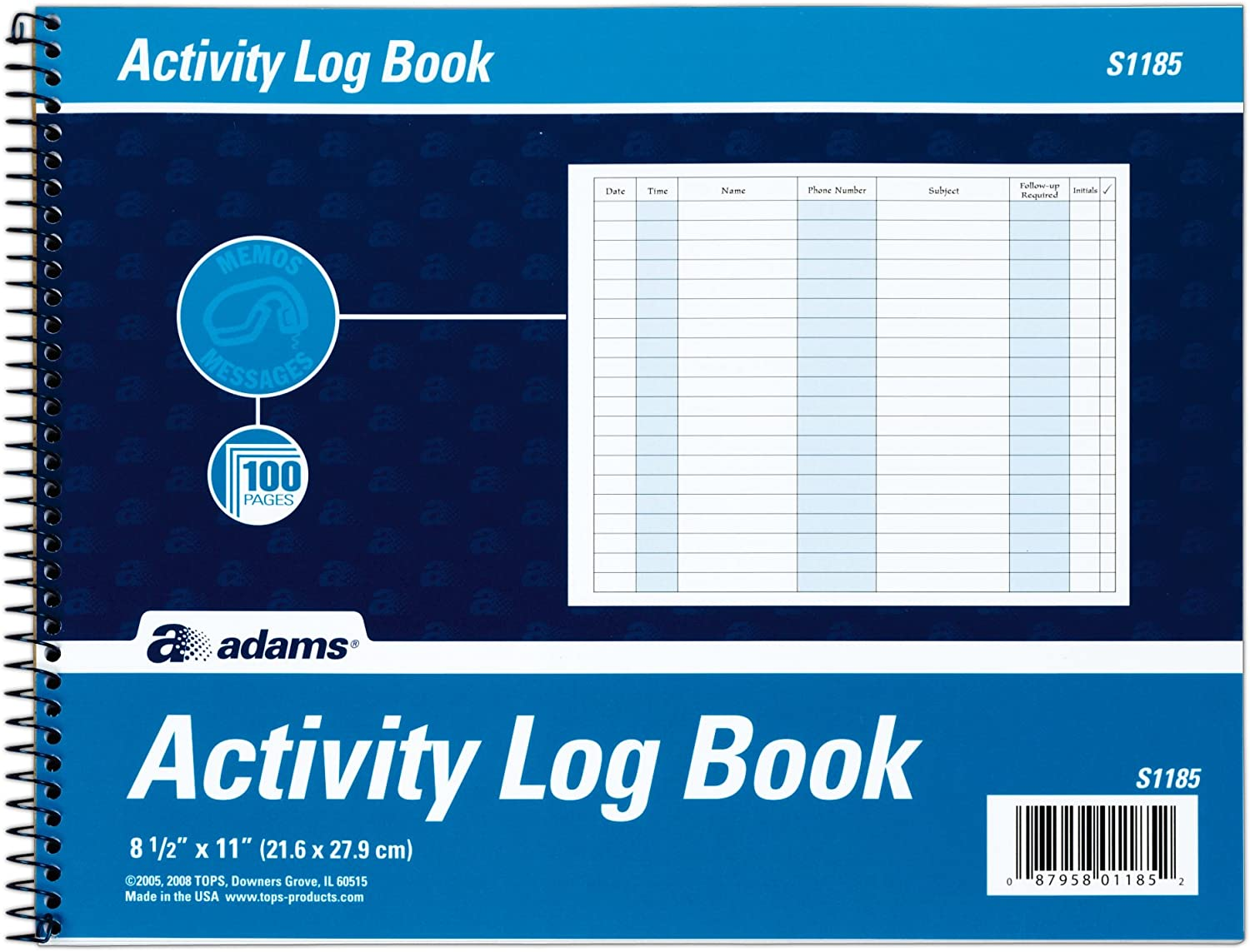 Adams Activity Log Book, Spiral Bound, 8.5 x 11 Inches, 100 Pages, White (S1185ABF) (Тwo Рack, White)