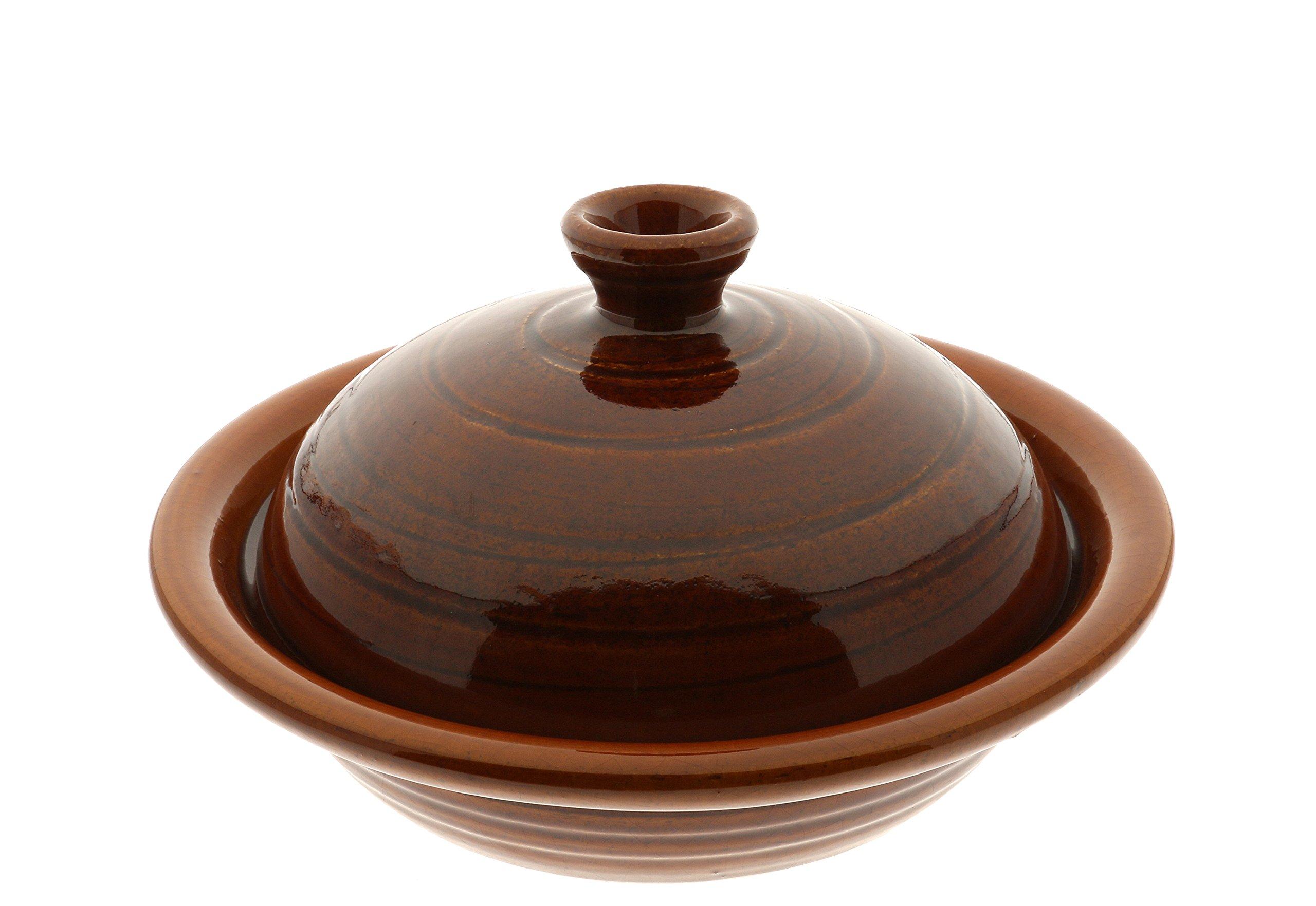 Kotobuki 190-908 Amber Swirl Donabe Japanese Hot Pot, 8-3/4'', Serves 1 to 2