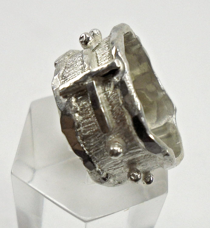 in argento forgiato e saldato realizzato a mano Anello rosario