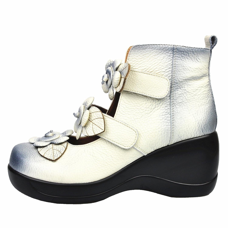 CUNZHAI Women's Unique Handmade Leather Casual Travel Soft Bottom Boot B072N2ZDNC 9 B(M) US|White